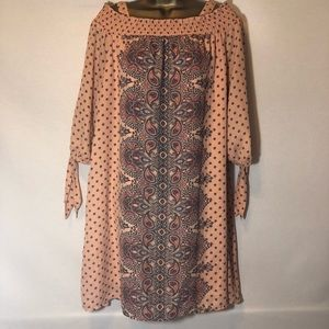 Luxology peach dress with paisley print